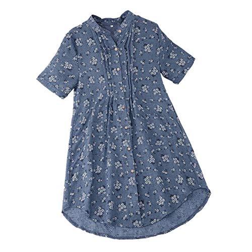iHENGH Damen Bequem Mantel Lässig Mode Jacke Frauen Frauen mit Langen Ärmeln Vintage Floral Print Patchwork Bluse Spitze Splicing Tops(Himmelblau-a, 5XL) -