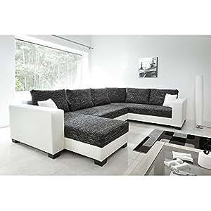 Come canapé d'angle réversible convertible en simili et tissu 6 places - 327x161/223x85 cm - gris et blanc