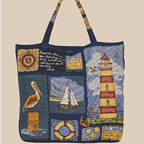 Tragetasche - Shopper Gobelin maritim ''Leuchtturm'' (45/45) -