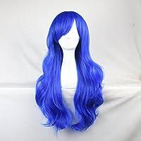 Donne delle ragazze delle signore 70 centimetri di blu marino di colore lunghi ricci parrucche costume di alta qualità dei capelli Carve Cosplay Anime di Bangs completa sexy Parrucche