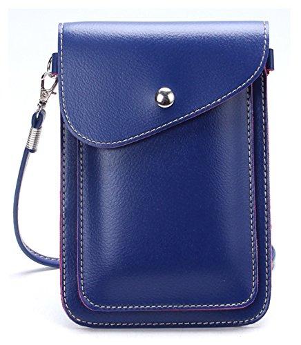 Tibes Mini PU Leder Kreuz-Körper Tasche Handy Geldbörse kleine Brieftasche Tasche Blau (Leder-geldbörse Mit Kreuz)