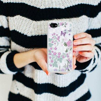 Apple iPhone 5 Housse Étui Silicone Coque Protection Papillons Fleurs Fleurs Housse en silicone blanc