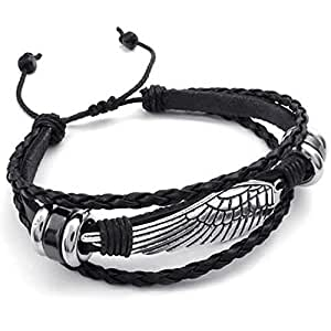 Konov Jewellery Mens Womens Leather Bracelet, Vintage Wing, Fit 7-9 inch, Black Silver (with Gift Bag)