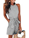FeelinGirl Women's Striped Jumpsuits High Waisted with Belt All in one Playsuit (Short-Black, M)