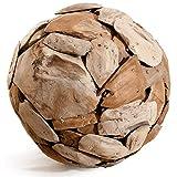 Meubletmoi Boule Sculpture 40 cm en Teck recyclé - Objet décoratif Artisanal Exotique - Ball...