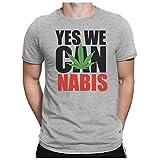 PAPAYANA Herren T-Shirt - YES We CAN-NABIS - Obama Legalize USA Reggae Peace, XL, Grau meliert