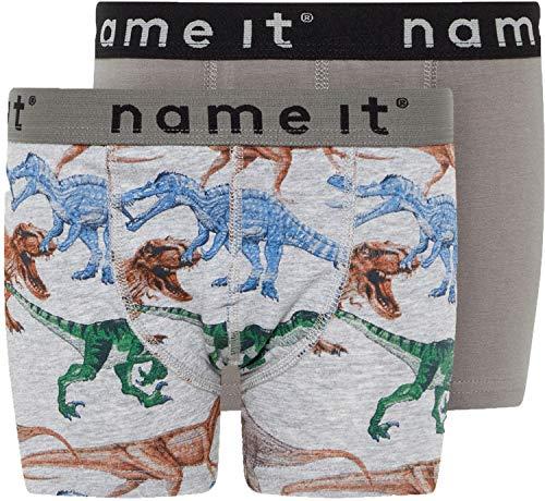 NAME IT Baby-Jungen NMMBOXER 2P Grey Mel Dino AOP NOOS Hose, Mehrfarbig Melange, ((Herstellergröße:86) Dino-hose