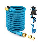WEUE Garden Hose Pipe Extra Strong Flexible Magic Water Hose With 9 Function Spray Gun & Brass Fitting Connector(50ft)
