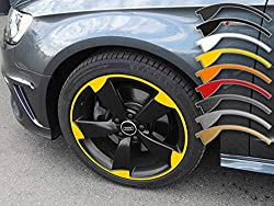 SB CarDesign 8-9x19 Inch Rim Stickers for A3 Tt RS3 8P Audi 5-Arm Rotor Rims Rim Decal - Yellow
