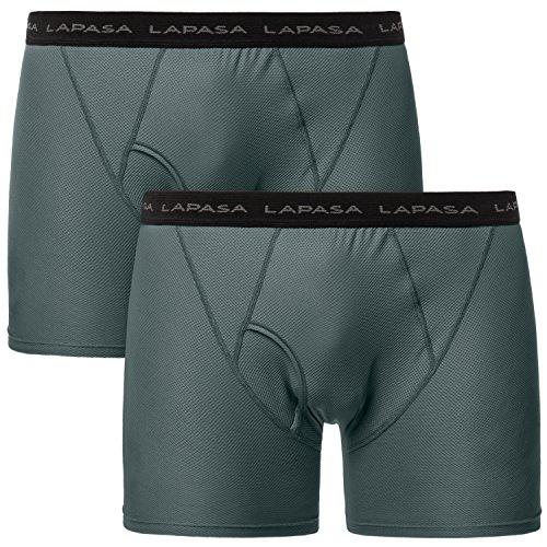 Lapasa Herren Unterwäsche, 2er Pack Herren Performance Unterwäsche, Herren Funktionsunterwäsche, Herren Sport Shorts - M016, M, Grau (Medium Herren-unterwäsche)