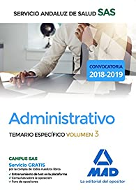 Administrativo del Servicio Andaluz de Salud. Temario específico volumen 3 par EDITORES 7