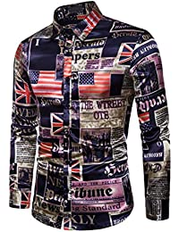 BUSIM Men's Long Sleeve Shirt Autumn Casual Flag Print Fashion Bottoming Shirt Slim T-Shirt Button Personality...