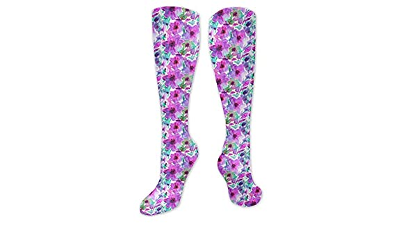 Watercolor Colorful Flower Floral Compression Socks For Women 3D Print Knee High Boot