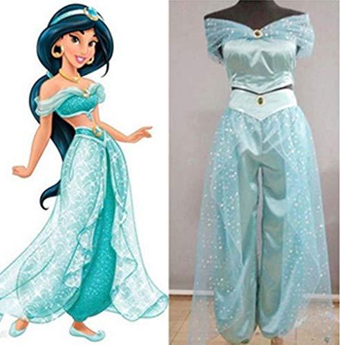 Frauen Kostüm Jasmin - FeMereina Frauen Jasmin Prinzessin Cosplay Kostüme Bauchtanz Dress Up Anime Lampe Kostüme Party Abenteuer Outfit Dunkelblau (XL, Hellblau)