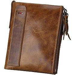 Billetera de cuero Pawaca con bloqueo de identificación por radiofrecuencia para hombres, de cuero genuino, doble cremallera y bolsillo para las monedas marrón marrón
