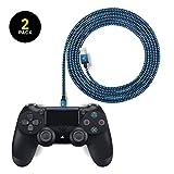 EXINOZ Cable Trenzado de Carga 2 m para Control de PS4 DualShock y Xbox One | Cable Cargador con 1 año de garantía de reemplazo (Paquete de 2, Azul)