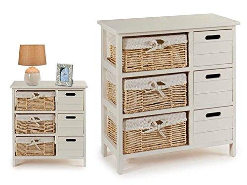Takestop Mobile mueble 6cajones cómoda 60x 30x 63cm blanco madera cestas cesta mimbre diseño Shabby Chic Vintage Sala Comedor Salón Cocina Baño Dormitorio cama