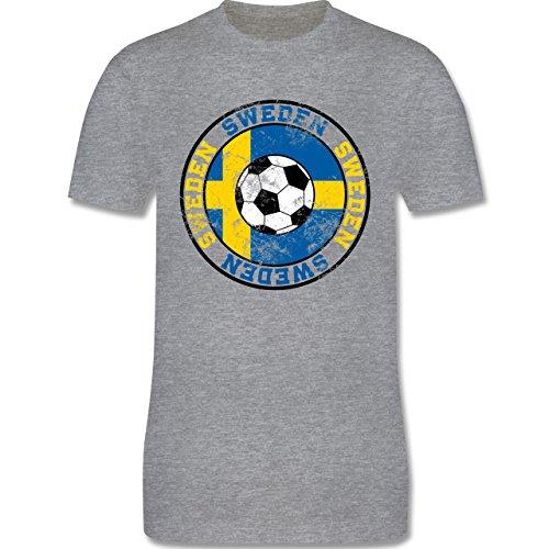EM 2016 - Frankreich - Sweden Kreis & Fußball Vintage - Herren Premium T-Shirt Grau Meliert