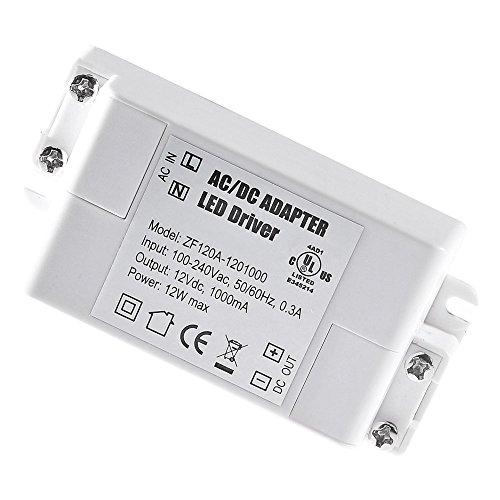 YAYZA! 8-Paquete Transformador de Conductor LED de Bajo Voltaje IP44 12V 1A 12W Fuente de Alimentación Conmutada de CA/CC