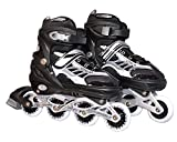 #7: Inline Skate Shoes Adjustable Size 38 to 42 Black L Size Age 10-14Years