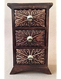 D'CORE CRAFTS Antique Wooden Mini Chest Drawers With 3 Section Cabinet - (11X6X3.5 Inches)