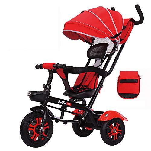 GIFT Poussette Tricycle pour Vélo 3 Roues pour Enfants 3 en 1 First Bike, avec Barre De Poussée Amovible, Siège Pivotant, 6 à 72 Mois,G