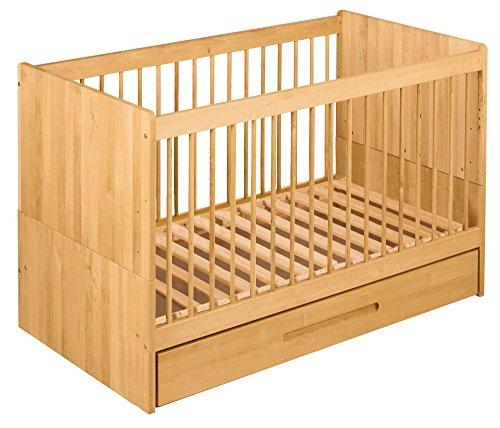 BioKinder 22777 Lina Spar-Set Babybett Kinderbett mit Bettkasten aus Massivholz Erle 70 x 140 cm (Erle-set Bett)