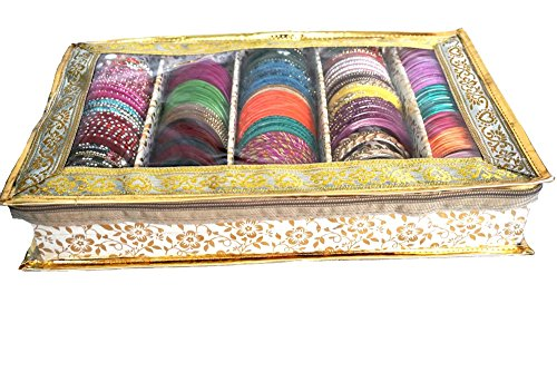 Prem Industries 5 Roll Golden Brocade Bangle Box,Bangle case & kit Organizer with Special Quality & Hard Board Support PI0346