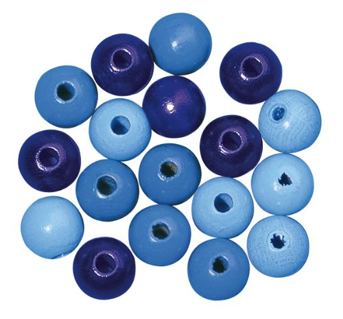 RAYHER hobby 1230100-perles en bois poli de 16 mm de diamètre, sB-sachet de 15 pièces-jaune-notes