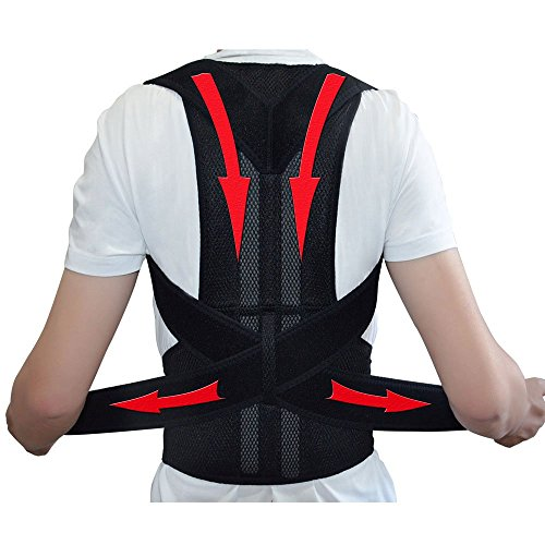 Ajustable soporte de la espalda corrector de postura Brace postura corrección cinturón para hombres mujeres cinturón de soporte de hombro - L