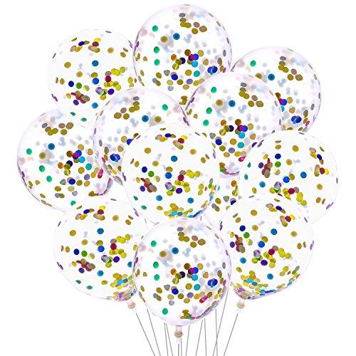 Aneco 20 Piezas Confeti de colores 12 pulgadas Globos de confeti Globo de confeti transparente de látex para decoraciones de banquetes de cumpleaños