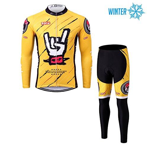 Thriller Rider Sports® Herren Rock Music Yellow Sport & Freizeit MTB Fahrradbekleidung Radtrikot Langarm Winter Thermisch Warm Jacke und Radhose Lang Anzug 2X-Large