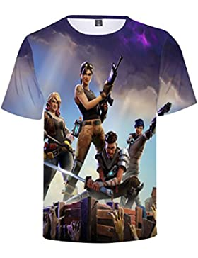 EMILYLE Niño Fnite PVP Pullover T-Shirt Unisex Fnite Llamas Game Scene Impreso Figura Manga Corta Camisas Deportivas