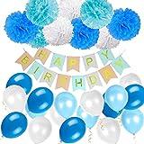 40 Stück Geburtstag Dekoration,Kindergeburtstag Deko,9 Papierblumenball +1 Happy Birthday Banner Fahnen+ 30 Ballons Dek