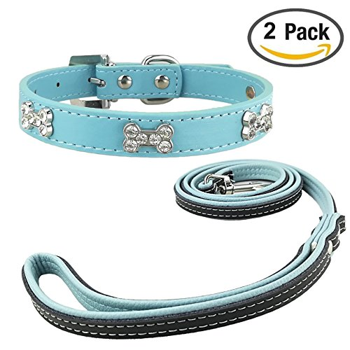 Newtensina Mode Hundehalsband und Leine Set Nette Bling Mädchen Knochen Welpen Halsbänder mit Hundeleine für Hunde (Halsband Und Mädchen Leine Hund)