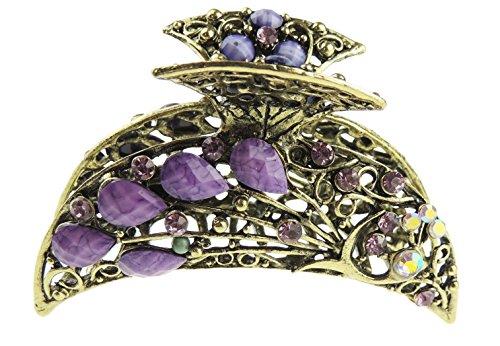 Damen-Haarklemme, Vintage-Look, mit stilisierten Pfauflügeln, Metall, bronzefarben Gr. One size, violett