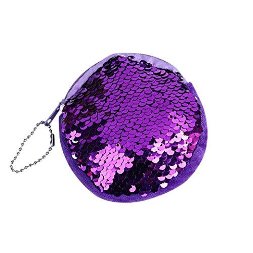 Doppel-portemonnaie (Malloom® Unisex Mädchen Mode Doppel Farbe Pailletten Tasche Münze Brieftasche Damen Geldbörse Tasche (lila))