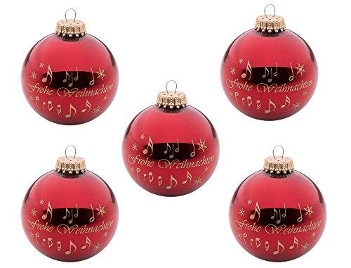 """5er Set Weihnachtskugeln """"Frohe Weihnachten"""" - Schönes Geschenk für Musiker"""