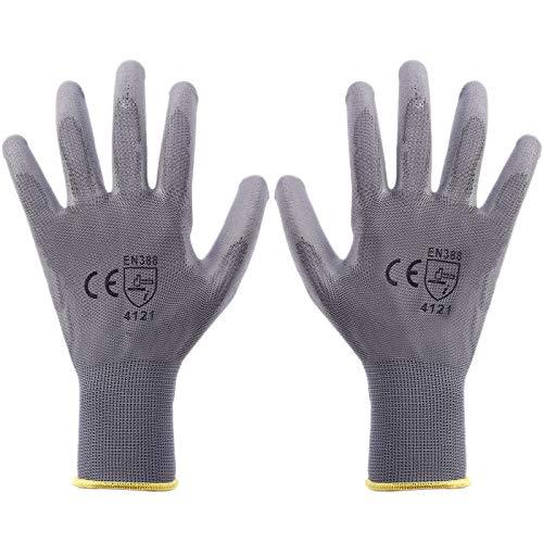 SurePromise 12 Paar Arbeitshandschuhe Nylon PU-Beschichtung Nahtlose Mehrzweck-Handschuhe für Gartenbauer Baumechaniker, grau -