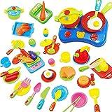 SOLEDI 60 Pièces Ensemble d'Ustensiles De Cuisine Jeu jouets d'Imitation Pour Enfant