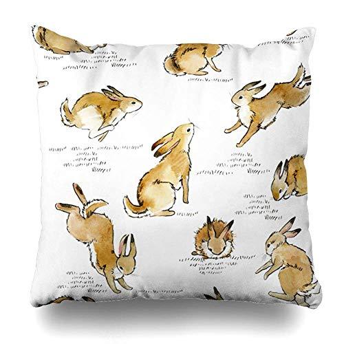 (saletopk Kissenbezug, Hase, niedliches Kaninchen, Aquarell, Vintage-Muster, Heimdekoration, gezeichnetes Design, 45,7 x 45,7 cm, quadratisch)