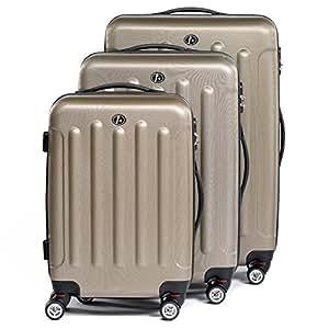 FERGÉ set de 3 valises trolley LYON - bagage avec 4 roulettes 360° - poignée télescopique - beige en ABS solide et léger