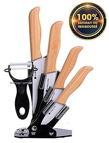 Couteau de cuisine en céramique ✮✮✮ - Couteaux en céramique Haut de Gamme [ESTHETIQUE & AGREABLE] Set de 4 couteaux de cuisine - Fixation renforcée grâce au manche bambou - Poignée ergonomique - Lame en céramique blanche.