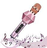 SHENGY Microfono Portatile Senza Fili Bluetooth condensatore, con Flash LED, Magic Voice, Manico in Lega di Alluminio, Altoparlante, Compatibile iOS/Android/iPad/PC,Pink