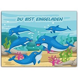 Delfin Delfine Delphine Kindergeburtstag Einladungskarten Einladung Geburtstagseinladung (10 Stück) Schwimmbad schwimmen Geburtstag Kinder Kinderparty Jungen Mädchen