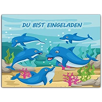 Delfine Delphine Kindergeburtstag Einladungskarten Einladung  Geburtstagseinladung (8 Stück) Schwimmbad Schwimmen Geburtstag Kinder  Kinderparty