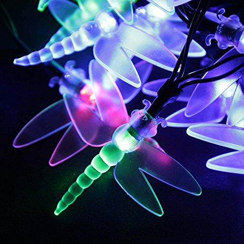 Solar Lichterkette Aussen Bunt | mit 20 LEDs/4,3m oder 30 LEDs/6,3m | Lichterkette mit Lichtsensor, Außen Deko Lichter, Außerlichterkette (6,3m)