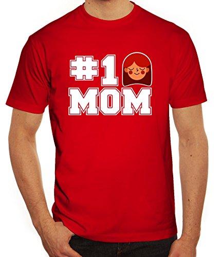 Geschenkidee Herren T-Shirt mit Number 1 Mom Motiv von ShirtStreet Rot