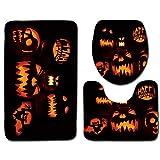 3 PCS Suite WC Deckel Toilettendeckel Badmatte Kürbis-Rutsch-Halloween-Abdeckung und schwarz und orange