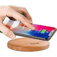 WoodPuck : Bamboo Édition Chargeur à induction (chargeur sans fil) Qi compatible avec iPhone X, 8, 8 Plus, Samsung Galaxy S9, S9+, S8, S8+, S7, S7 Edge, S6, S6 Edge, S6 Edge +, Note 5, LG V30S, LG G7, Nexus 4, 5, 6, 7 et autres téléphones portables smartphones compatibles Qi (Cappuccino)